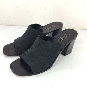 Vintage Gucci 7.5 Black Heeled Slide Sandals Logo